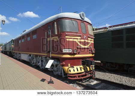 MOSCOW, RUSSIA - JUNE 23, 2016: Museum of Railway Transport of the Moscow railway soviet passenger's diesel locomotive with electric transmission TEP60-1200 built in 1984