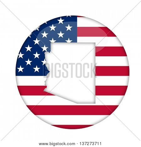 Arizona state of America badge isolated on a white background.