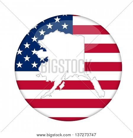 Alaska state of America badge isolated on a white background.