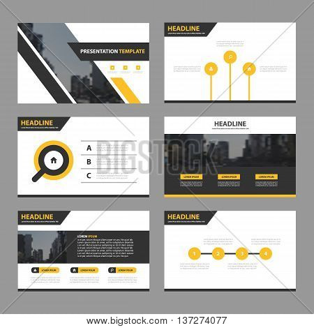 Yellow black busines presentation templates Infographic elements template flat design set for annual report brochure flyer leaflet marketing advertising banner template