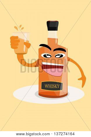 vector illustration cartoon of bottle holding up a glass of whisky alcohol