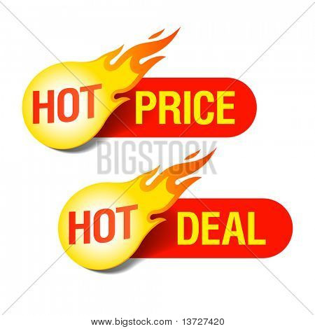 Hete tags prijs en Hot Deal. Vector.