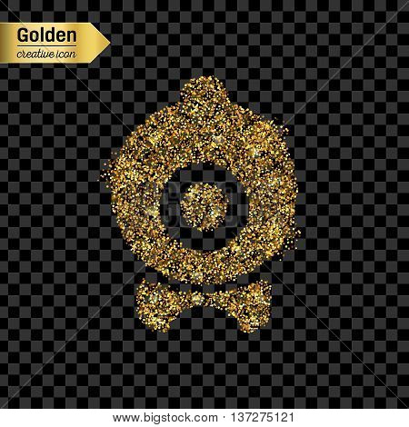 Gold glitter vector icon of webcam isolated on background. Art creative concept illustration for web, glow light confetti, bright sequins, sparkle tinsel, abstract bling, shimmer dust, foil.