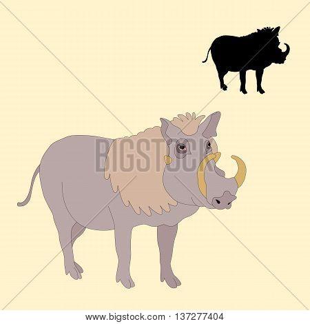 adult warthog realistic vector illustration black silhouette set