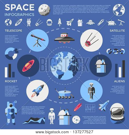 Space colored infographic with types of technologies and galactic inhabitants graphs and diagrams vector illustration