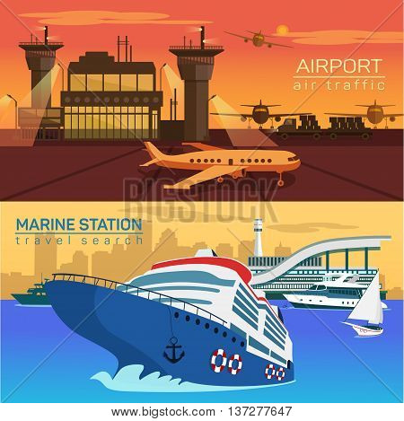 Airport with planes or jets, airplanes and air control towers. Sea or ocean with ships and yachts with sail or canvas. Public naval and marine water and speed air transportation