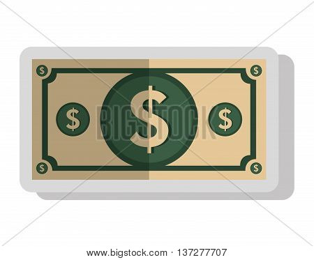 Money billet isolated flat icon, vector illustration graphic design.
