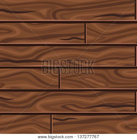 Wooden horizontal planks background with twisting textural pattern and dark brown cracks vector illustration