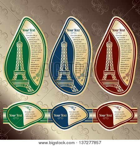 Set of labels with a sight on the Eiffel tower (Paris). Red, Blue and Green colors are used. Grouped for easy editing. Perfect for labels for wine, champagne and etc.