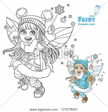 Cute little winter fairy girl with a Magic wand color and outlined picture for coloring book on a white background
