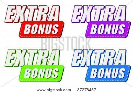 extra bonus in four colors labels, business shopping concept, flat design, vector