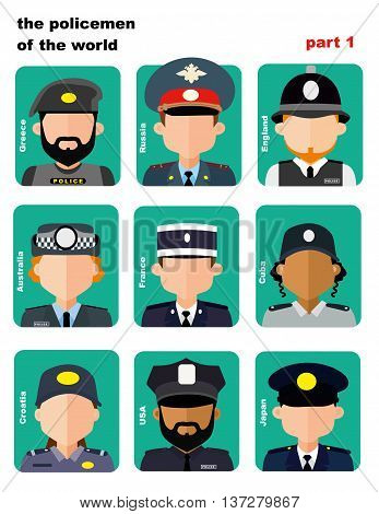 set of icons avatars the police officers from all over the world, flat icons, vector illustration, women and men, apps