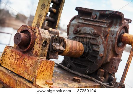 Old Rusted Engine With Gears, Close-up Photo