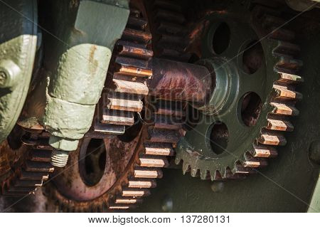 Old Rusted Green Gears, Close-up Photo
