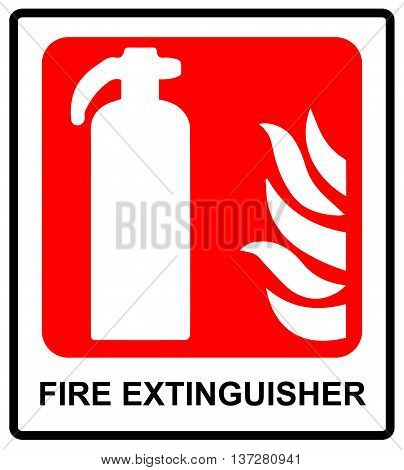 Fire extinguisher sign. Vector warning icon on red .