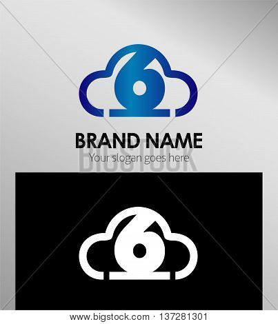 Symbol Number six 6 logo icon template design vector