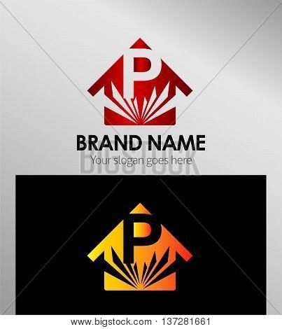House icon, logo P letter template design vector