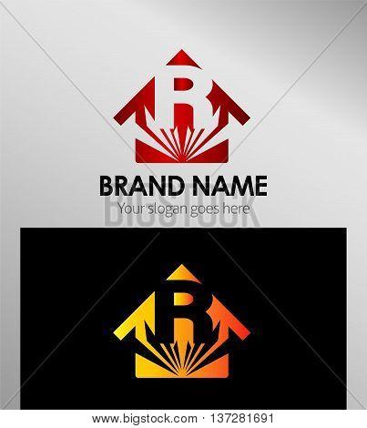 House icon, logo R letter template design vector
