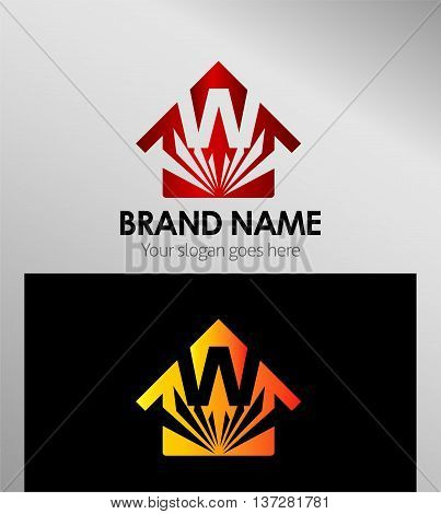 House icon, logo W letter template design vector