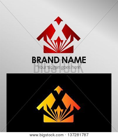 House icon, logo X letter template design vector
