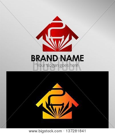 House icon, logo 2 number template design vector
