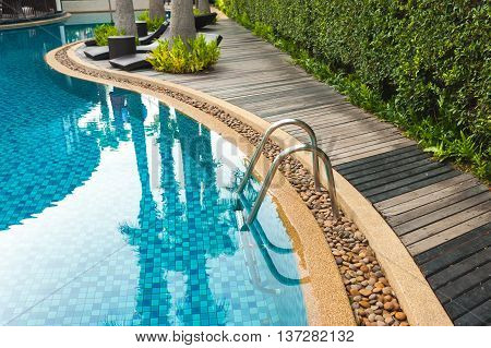 25 May 2016, Hotel Swimming Pool With Sunny Reflections, Swimming Pool Of Luxury Hotel, Swimming Poo