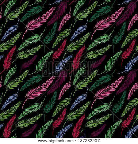 Vector colorful seamless feather pattern in sketch style. Hand drawing plumage endless texture