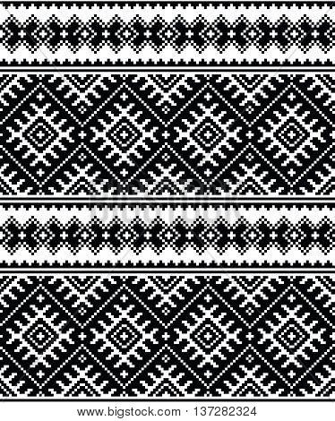 Folk art black seamless pattern form Ukraine and Belarus