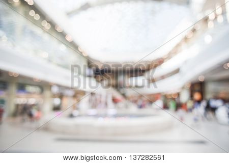 Big city mall in bokeh. Fashion and office center. Blurred image of light shop interior. Sale and market. Clean and luxury scene.