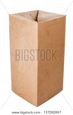 Old dusty brown cardboard box isolated on white background