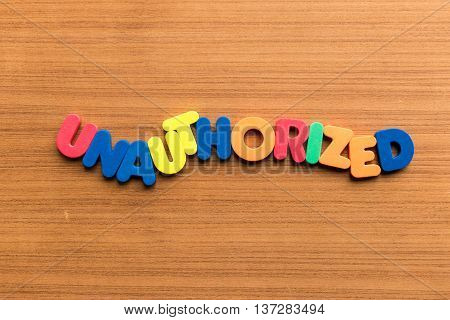 Unauthorized Colorful Word
