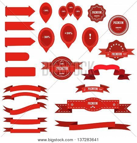 Ribbon retro graphic blank celebration banner and sale labels vector set. Ribbon award cutting isolated banners. Ribbon border vintage icon sticker banner vector. Label element decoration.