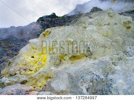 Sulfur In Sibayak Volcano.