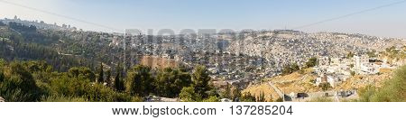 Large panorama of the Jerusalem capital of Israel