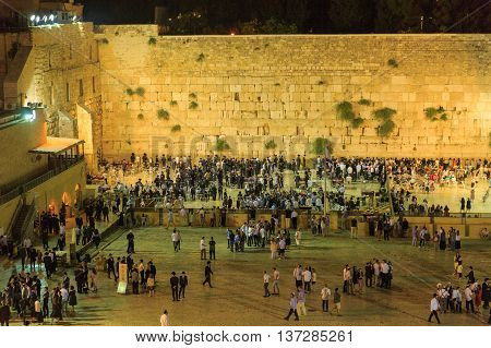 Jerusalem, Israel - July 01, 2016: Western Wall After Sabbath Prayers