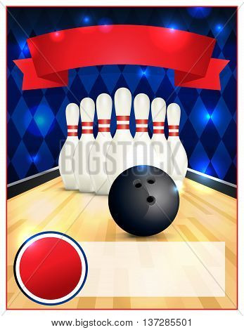 A blank bowling flyer template great for birthday parties bowling leagues and tournaments. Layered vector EPS 10 available.