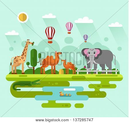 Flat design vector illustration of animals in the Zoo, infographics concept. Elephant with apple, giraffe eating leaves of tree, Bactrian camel with colt, crocodile and family of bird in the pond.