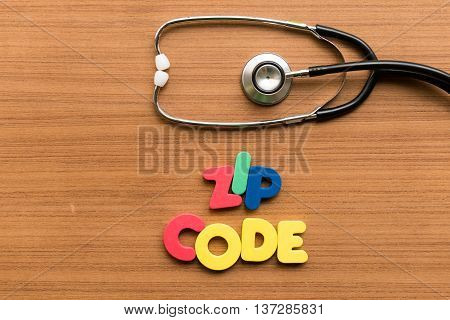Zip Code Colorful Word With Stethoscope
