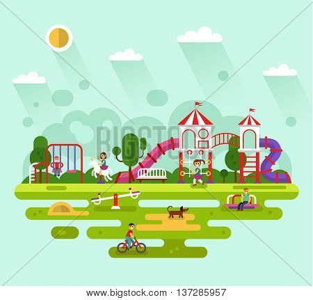 Flat design vector summer landscape illustration of park with kids playground and equipment with swings, slides and tube, carousel. Cyclist, dog, bench. Amusement park for children.