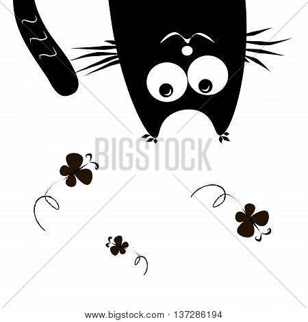 Cat hanging upside down Cat hanging upside down and watching butterflies summer cheerful composition vector illustration