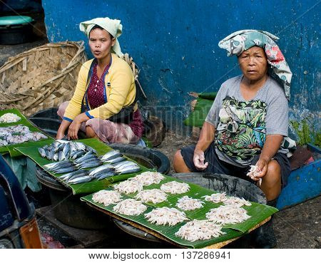 SUMATRA INDONESIA - AUG 11 : Local people sell fish at the market on Aug 11 2011 in Medan Sumatra. Medan is the third largest city in Indonesia.