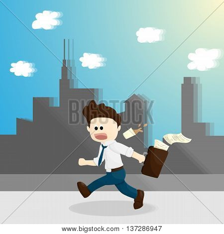 hurry time cartoon salary man lifestyle in different emotion