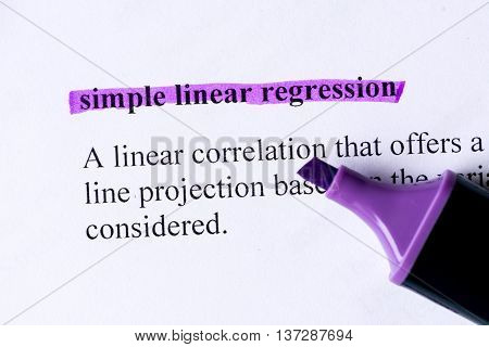 Simple Linear Regression Word Highlighted