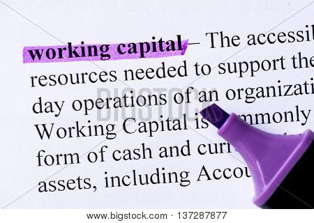 Working Capital Word Highlighted
