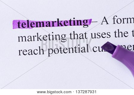 Telemarketing Word Highlighted