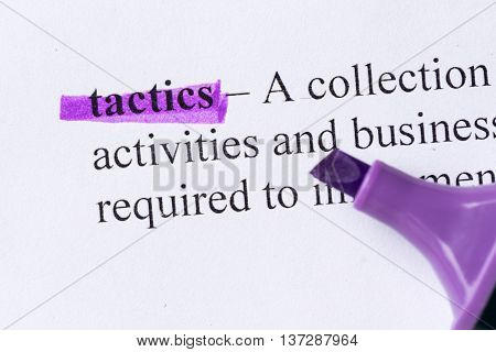 Tactics Word Highlighted