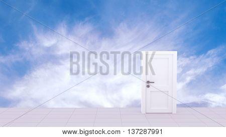 3d Rendering of Door to the heaven in sky background