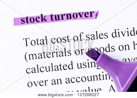 Stock Turnover Word Highlighted