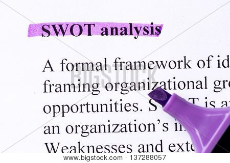 Swot Analysis Word Highlighted