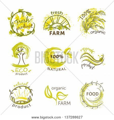 Collection of labels and badges with abstract splashes in watercolor style for organic, natural, eco and bio products. Hand drawn vector illustration
